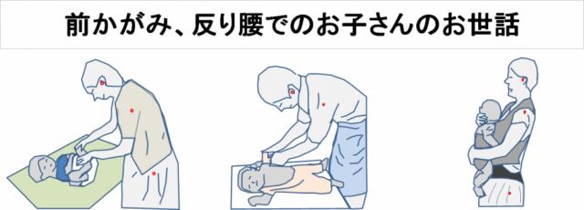 腰痛の原因となる姿勢の例 お子さんのお世話